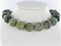 String Beads, Quartz with Chlorite, facetted, 20mm
