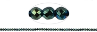 String Beads, Hematine blue-green (dyed), faceted, 02mm
