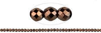 String Beads, Hematine brown (dyed), faceted, 03mm