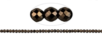 String Beads, Hematine coffee (dyed), faceted, 03mm
