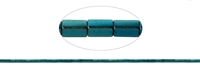 String Cuboid rectangular, Hematine blue-green (dyed), 04 x 02mm
