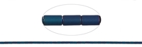 String Cylinder, Hematine blue (dyed) frosted, 05 x 03mm