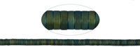 "String Cylinder (""Heishi""), Hematine blue-green (dyed) frosted, 01 x 03mm"