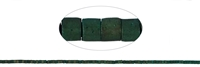 String Cylinder, Hematine blue-green (dyed) frosted, 01 x 01mm