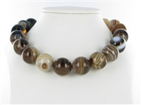 String Beads, Agate brown (dyed), 20mm