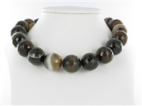 String Beads, Agate brown (dyed), facetted, 20mm