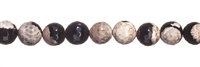 String Beads, Agate (moonlight) white-black (dyed), facetted, 10mm