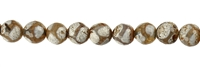 "String Beads, Agate ""Football"" brown (dyed) facetted, 12mm"
