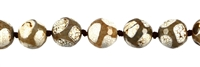 "Stringed Beads, Agate ""Football"" brown (dyed) facettiert, 14mm"