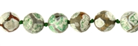 "String Beads, Agate ""Football"" green (dyed), faceted, 14mm"