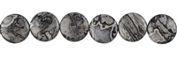 String Button flat, Jasper (Silver Leaf), 12mm