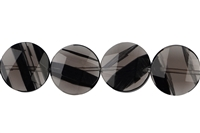 String Coins, Obsidian (Midnight Lace), faceted, 15mm
