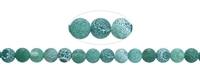 Stringed Beads, Agate (Snake) green (dyed) frosted, 08mm