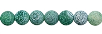 String Beads, Agate (Snake) green (dyed), frosted, 12mm