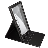 Mirror in black faux leather case, 2-stage be set up