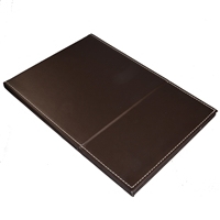 Mirror in dark brown faux leather case, 2-stage be set up