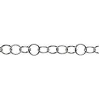 Chain by meter round large heavy 12mm, Silver (0,3 m/VE)