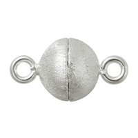 Magnetic Clasp round shape 10mm, Silver frosted (1 pc/VE)
