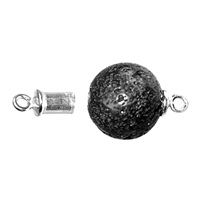 Magnetic Clasp in Sphere (Lava) 16mm, Silver (1 pc/VE)