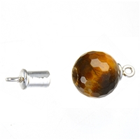 Magnetic Clasp in Sphere (Tiger's Eye faceted) 16mm, Silver (1 pc/VE)