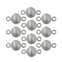 Magnetic Clasp round shape 10mm, Silver frosted (10 pc/VE)
