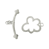 "Toggle Clasp ""Cloud"" 15mm, Silver frosted (1 pc/VE)"