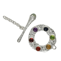 "Toggle Clasp ""Chakra"" 24mm, Silver hammered surface (1 pc/VE)"