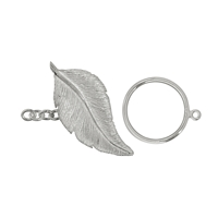 "Toggle Clasp ""Feder/Feather"" 40mm, Silver (1 pc/VE)"