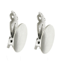 Ear Clip oval Plate 14mm, Silver (2 pc/VE)