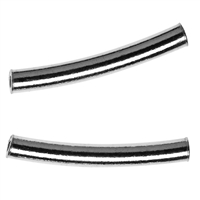 Tube curved 2x15mm, Silver (15 pc/VE)
