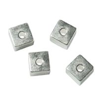Cubes drilled through sides 3mm, Silver (10 St./VE)