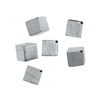 Cube cross drilled 6mm, Silver frosted (6 pc/VE)