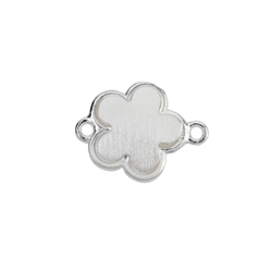 Disc Clover 12mm with Loops, Silver frosted (2pc /VE)