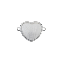 Disc Heart 12mm with Loops, Silver frosted (2pc /VE)