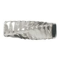 Tube square hammered twisted 8x3mm, Silver (30 pc/VE)
