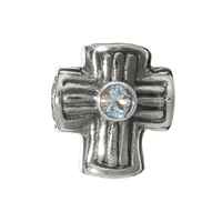 Chili Bead, Cross with Tpoaz, Silver, 12mm