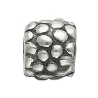 Chili Bead, Barrel grained, Silver, 10mm