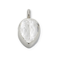 Topaz (white) Drop with Loop 8mm, Silver (2 pc/VE)