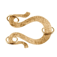 "Design Clasp ""Swan Neck"" 25mm, Silver gold plated frosted (1 pc/VE)"
