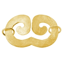 "Design Clasp ""Geminus Wave"" 50mm, Silver gold plated frosted (1 pc/VE)"