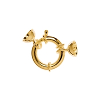 Designer Spring Ring 16mm wirth End Caps, Silver gold plated (1 pc/VE)