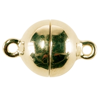 Magnetic Clasp round shape 10mm, Silver gold plated (1 pc/VE)
