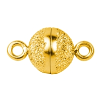 Magnetic Clasp round shape 10mm, Silver stardust, gold plated (1 pc/VE)