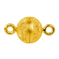 Magnetic Clasp round shape 10mm, Silver partly stardust, gold plated (1 pc/VE)