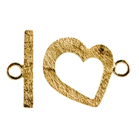 "Toggle Clasp ""Heart"" 17mm, Silver gold plated (1 pc/VE)"