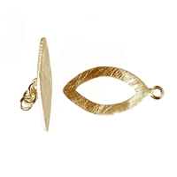 "Toggle Clasp ""Navette"" 27mm, Silver gold plated frosted (1 pc/VE)"