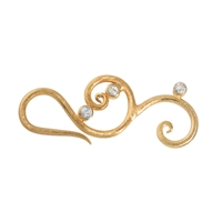 Hook 'Floral' with 3 Stones 40mm, Silver gold plated frosted (1 pc/VE)