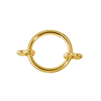 Clamp Ring with two loops 22mm, Silver gold plated (1 pc/VE)