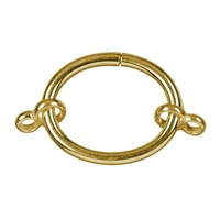 Clasp Clamping Ring oval with 2 Double Eyelets, Silver Gold plated, 28 x 22mm
