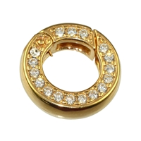 Ring Clasp with Zirkonia 16mm, Silver goldplated, square-cut belt (1 pc/VE)